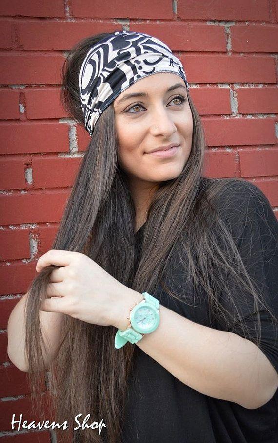 Jersey Turban Hair Wrap Double Colored Turban Black by HeavensShop