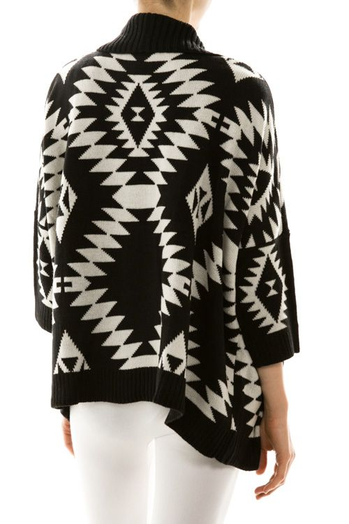 Black and White Aztec print looks amazing with skinny jeans and tall boots!