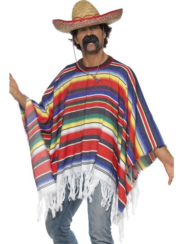 Adult Mens Mexican Multicoloured Poncho Cowboys Indians Fancy Dress One Size | eBay