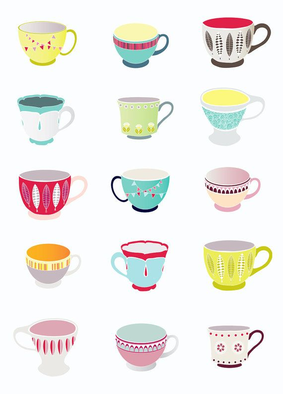 Teacups Art Print Kitchen decor home warming by lauraamiss on Etsy