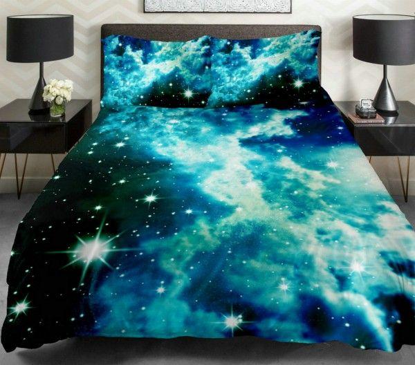 Green Galaxy Bedding Blue Cloud Space Duvet Cover Popular Bedding Set Queen/Full/Single Galaxy Sheet Nebula Quilt Duvet Cover With 2 Matching Nebula Pillow Covers