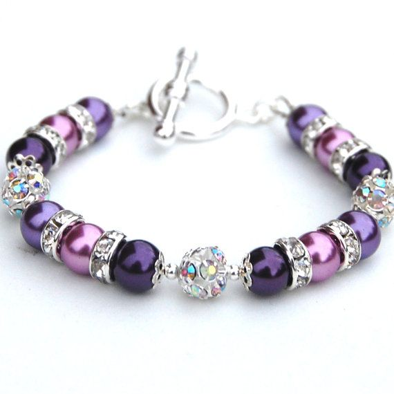 Purple Pearl Rhinestone Bracelet, Bridesmaid Jewelry, Bling Bracelet, Purple Wedding on Etsy, $24.00