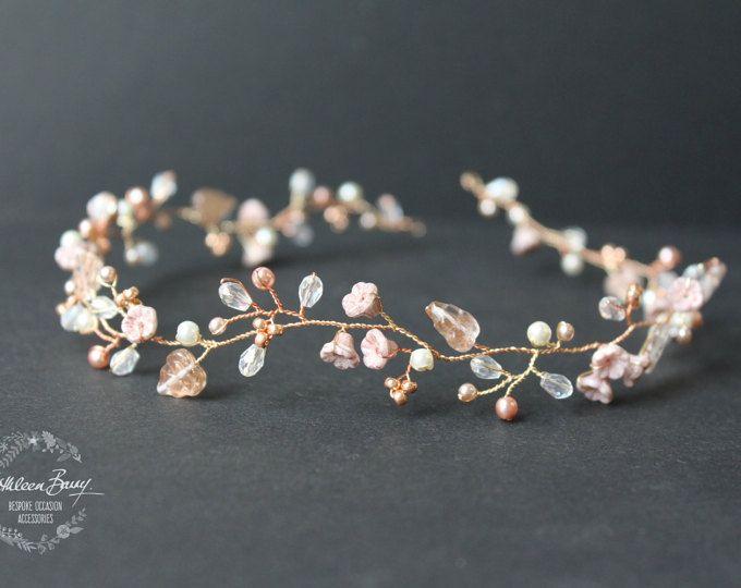 Rose Gold Bridal Hair Wreath Headband Crown Handmade Fabric Floral Wedding Hair Accessory Ivory STYLE: Wendy