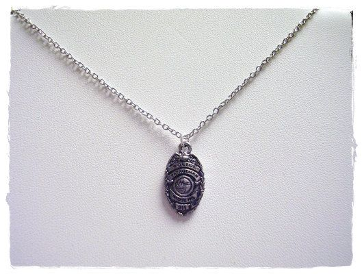 118 police wife pinterest silver police badge necklace antique pewter police badge charm on a delicate silver plated cable chain or charm only mozeypictures Choice Image