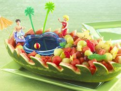 How to make a Watermelon Swimming Pool~with gummi fish and all. How Neat!