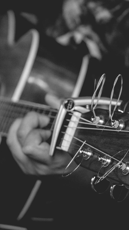 GUITAR MUSIC ART BW DARK WALLPAPER HD IPHONE
