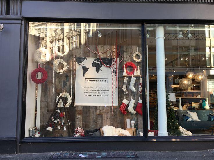 Christmas window #westelm #visualmerchandising #display #windows #christmas #handcrafted