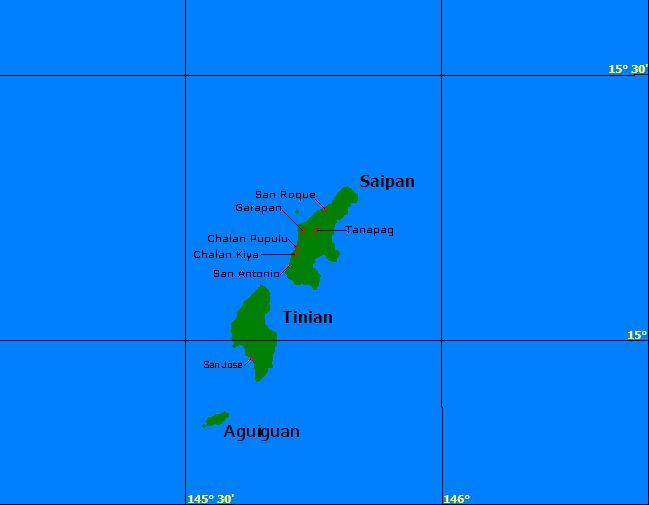 Saipán es la isla más grande del Estado libre asociado insular estadounidense de las Islas Marianas del Norte situado en el océano Pacífico occidentalFile:SaipanTinianAquijan.png