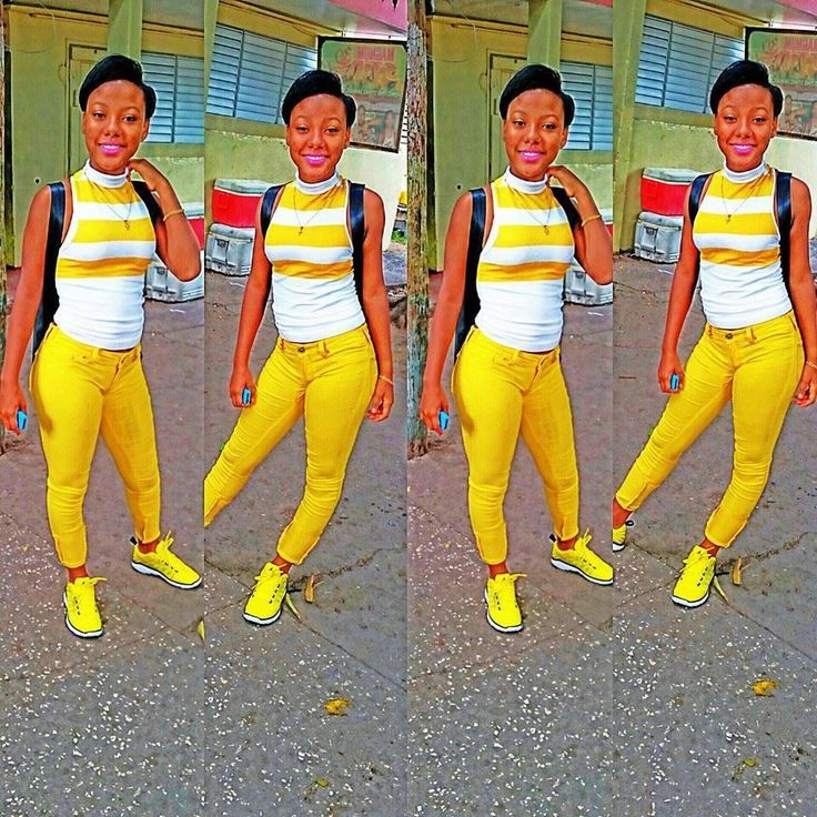 yellow pants with matching jordans and white top #jamaican fashion , trendy much 2015 row row