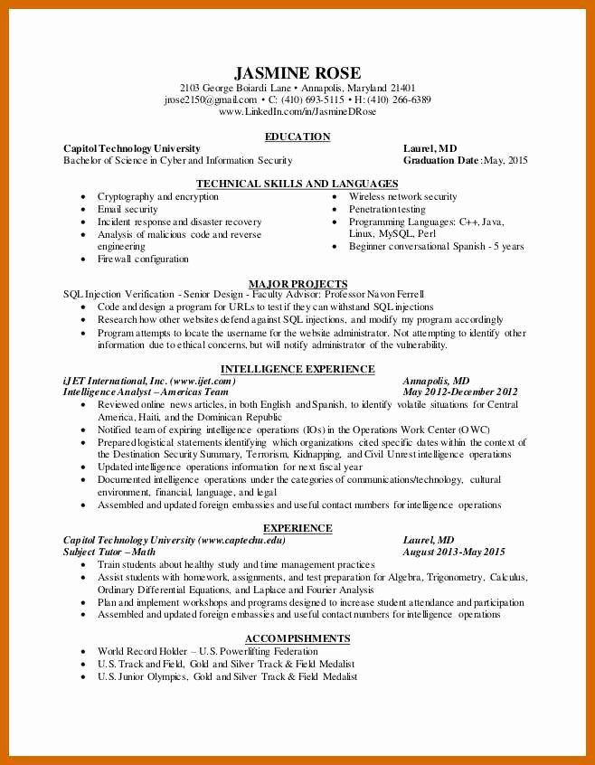 Cyber Security Resume Example Inspirational 9 10 Cyber Security Analyst Resume Security Resume Resume Examples Resume Objective