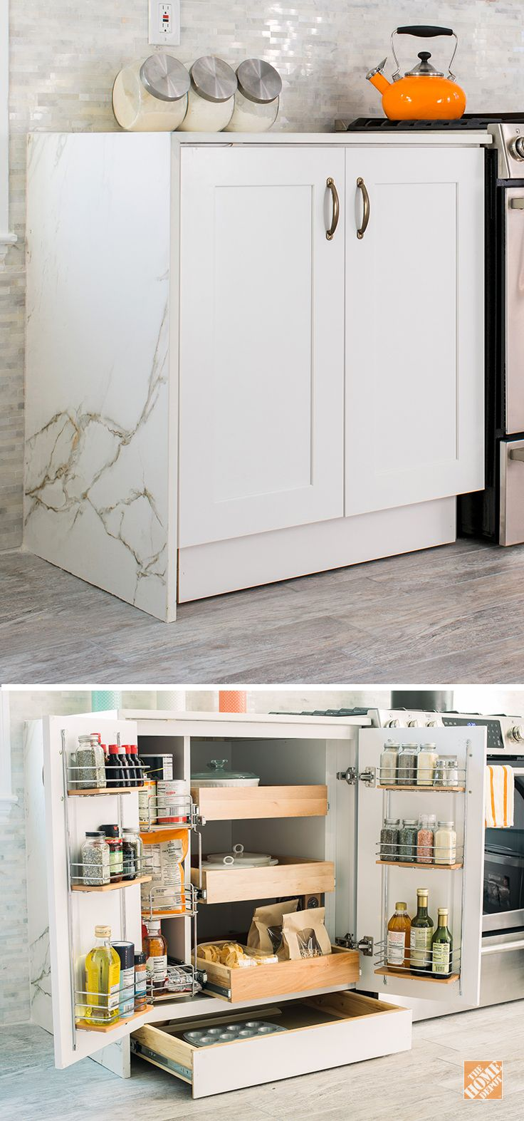 Keep cooking items out of sight and easily accessible with a Thomasville SuperCabinet. This is just one kitchen storage option you can choose when you remodel your kitchen with Thomasville Cabinets. Click through to discover more innovative solutions for your kitchen makeover.