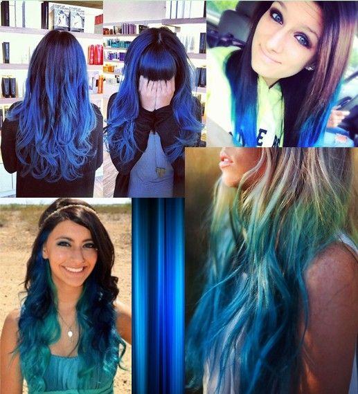 capelli in colore blu dip dye
