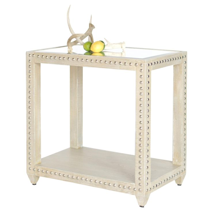 OLIVIA LIO   Rectangular Side Table Limed Oak Veneer With Nickel Studs And  Inset Beveled Mirror Tops.
