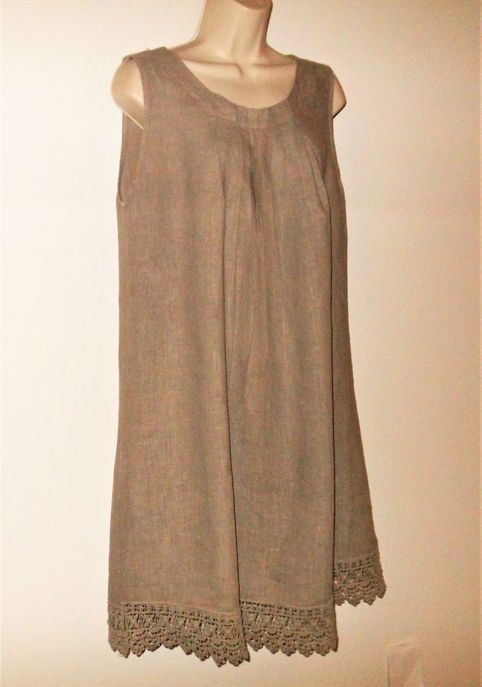 e53272b8d2 Rosemarine 100% Linen Dress M Shift Sleeveless Taupe Lace Made in Italy  Medium  LinenDress  LinenShiftDress  Linen Lace