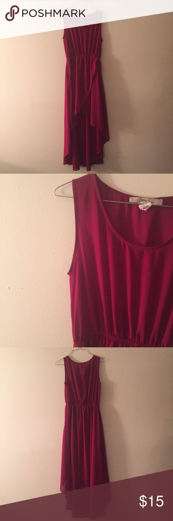 EUC ruby red sheer hi low maxi dress Super cute an in great condition ruby red Sans Souci high low sheer max dress. Worn and washed a few times this past summer. Perfect for any occasion with a pair of strappy sandals and a statement necklace Sans Souci Dresses High Low