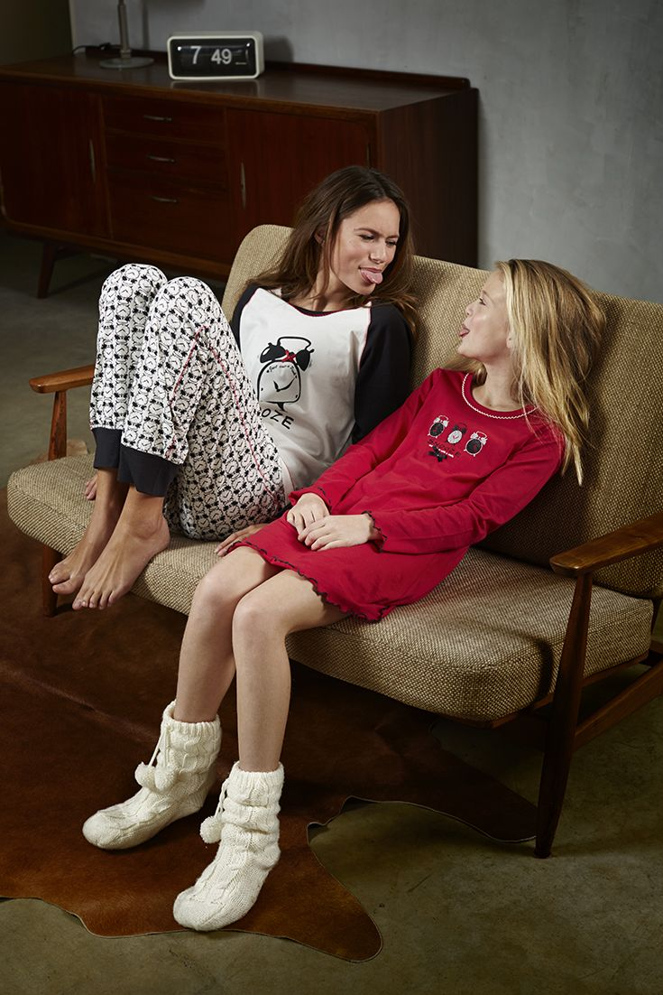 'Snooze Time' ivory and dark grey pyjama set with  patterned cuffed pants & Pretty 'Little Snooze' orange red nightdress with glitter & bows