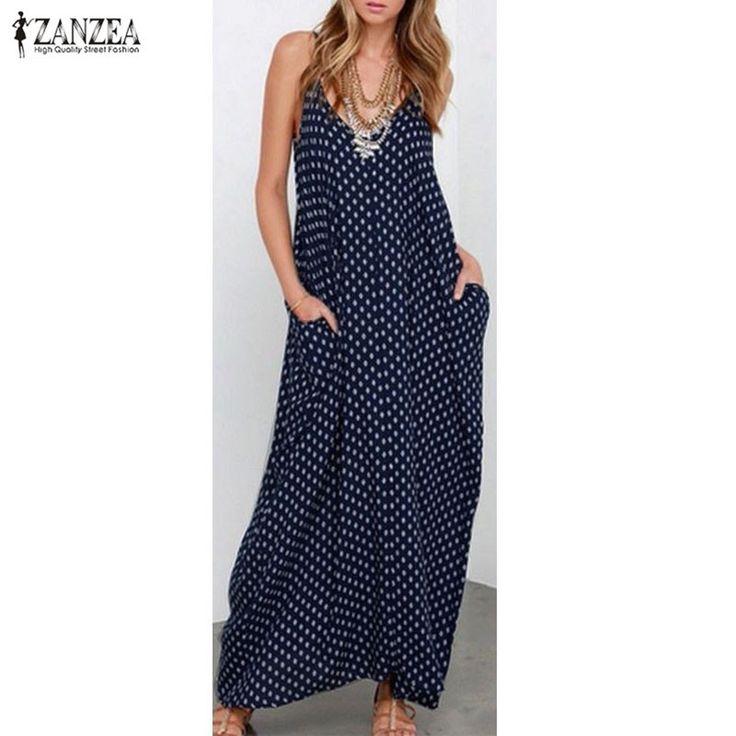6 Color Sexy 2016 ZANZEA Women Strapless Polka Dot Casual Loose Long Maxi Summer Dress Cotton Beach de verano Vestidos Plus Size