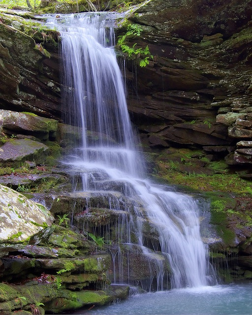 Magnolia Falls Arkansas.  This is a great little waterfall that is about 26 ft tall and with the scenic hike is one of the better bang-for-your buck hikes in the Buffalo River area. The falls go into a deep pool and really creates a scenic area.