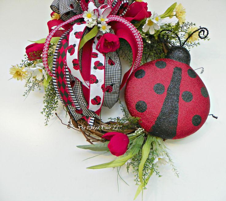 Ladybug Wreath - Ladybug Decor - Spring Wreath - Summer Wreath - Year Round Wreath - Gift for Her - Gift for Gardener - Ladybug Grapevine by TheNakedDoorLLC on Etsy