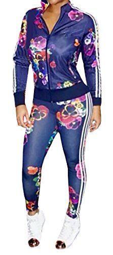 Women's Athletic Clothing Sets - Ybenlow Womens 2 Piece Floral Bodycon Sweatsuit Set Tracksuit Outfit *** You can get additional details at the image link.