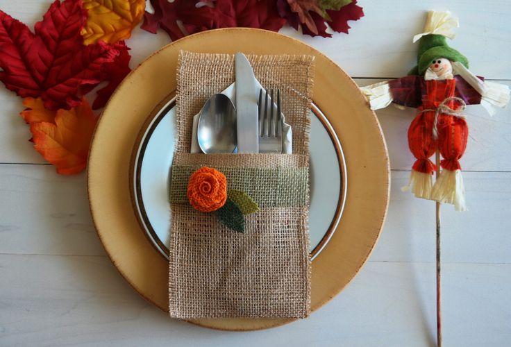 Thanksgiving Burlap Utensil Holder / Silverware Holder di sabihup                                                                                                                                                                                 More