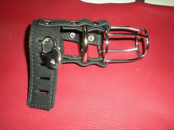 Genuine Leather and Metal Male Chastity, Locking Cage One Size, Hand crafted USA by LeatherorKnotByRalph on Etsy