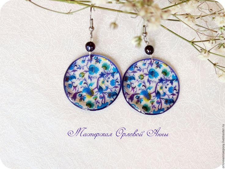 Купить Прозрачные серьги с цветочным рисунком - фиолетовые серьги, прозрачные серьги, серьги с цветами
