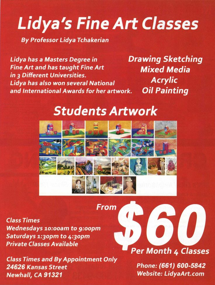 Lidya's Fine Art Classes Lidya's Fine Art Classes teaches  adults, teens and children the basics of drawing sketching and painting in simple and easy step-by-step with fun, exiting and educational subjects in different medias. Our instructor Lidya is a professional Fine Artist, and experienced professor in fine arts in several university, collage and Academy for over 20 years. Lidya has also won National and International Scholarship and Award for her outstanding works of Art.  Our Art…