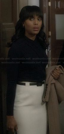 Olivia's white high waisted pencil skirt and wrap top on Scandal.  Outfit Details: http://wornontv.net/20539/ #Scandal #ABC