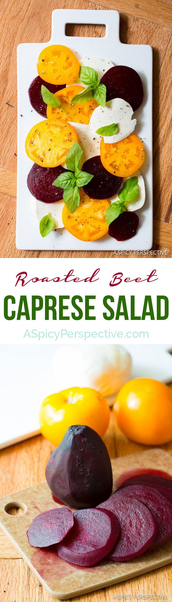 Simple, yet Dazzling Caprese Salad Recipe with Roasted Beets and Garlic Vinaigrette on ASpicyPerspective.com #salad #caprese