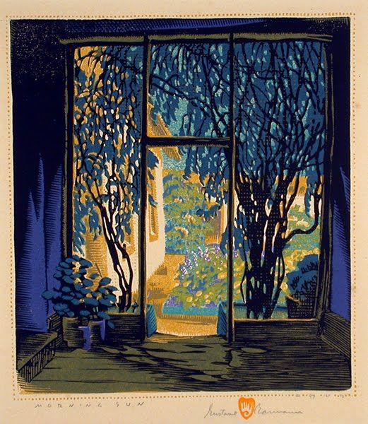 Morning Sun, woodblock print by Gustave Baumann, 1881-1971, German-born American artist and puppeteer