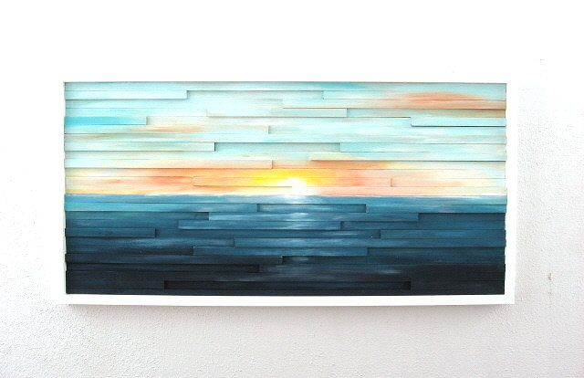 Abstract Landscape Painting on Wood Wall by ModernRusticArt, $425.00