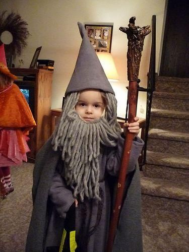 Homemade wizard costume for kids.