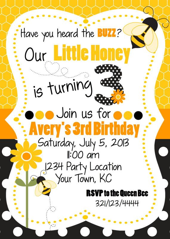 Bee Birthday Invitation by WhooosHavingAParty on Etsy, $10.00