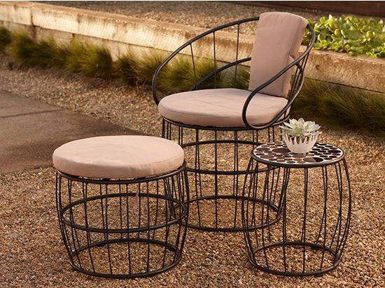 Scandinavian Designs - The Tublo three piece outdoor set includes a chair, ottoman and side table. With  galvanized steel frames and a powder-coated finish. The chair and ottoman comes with a mocca color cushion. The table features a black and gold mosaic bubble top.