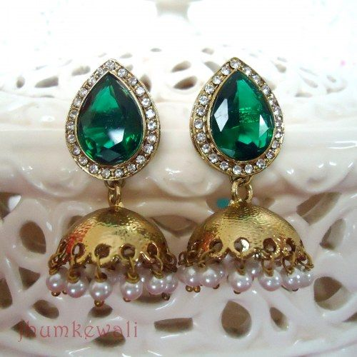 GREEN Tilak Jhumka - antique polish