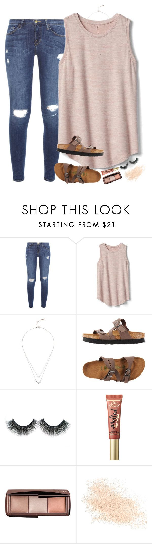 """""""I will cling to the old rugged cross"""" by southernstruttin ❤ liked on Polyvore featuring Frame, Gap, Lucky Brand, Birkenstock, Too Faced Cosmetics, Hourglass Cosmetics and Eve Lom"""