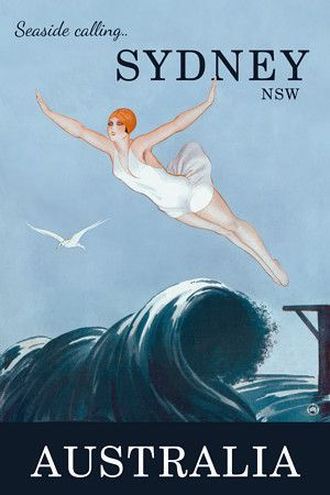 Seaside Calling - Sydney  Australia travel print  http://vintagevenus.com.au/products/vintage_poster_print-tv897