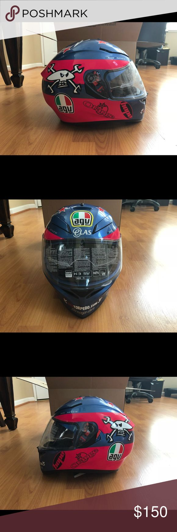 AGV K3 SV Guy Martin Full Face Helmet Blue/Pink/White BRAND NEW Accessories Hats