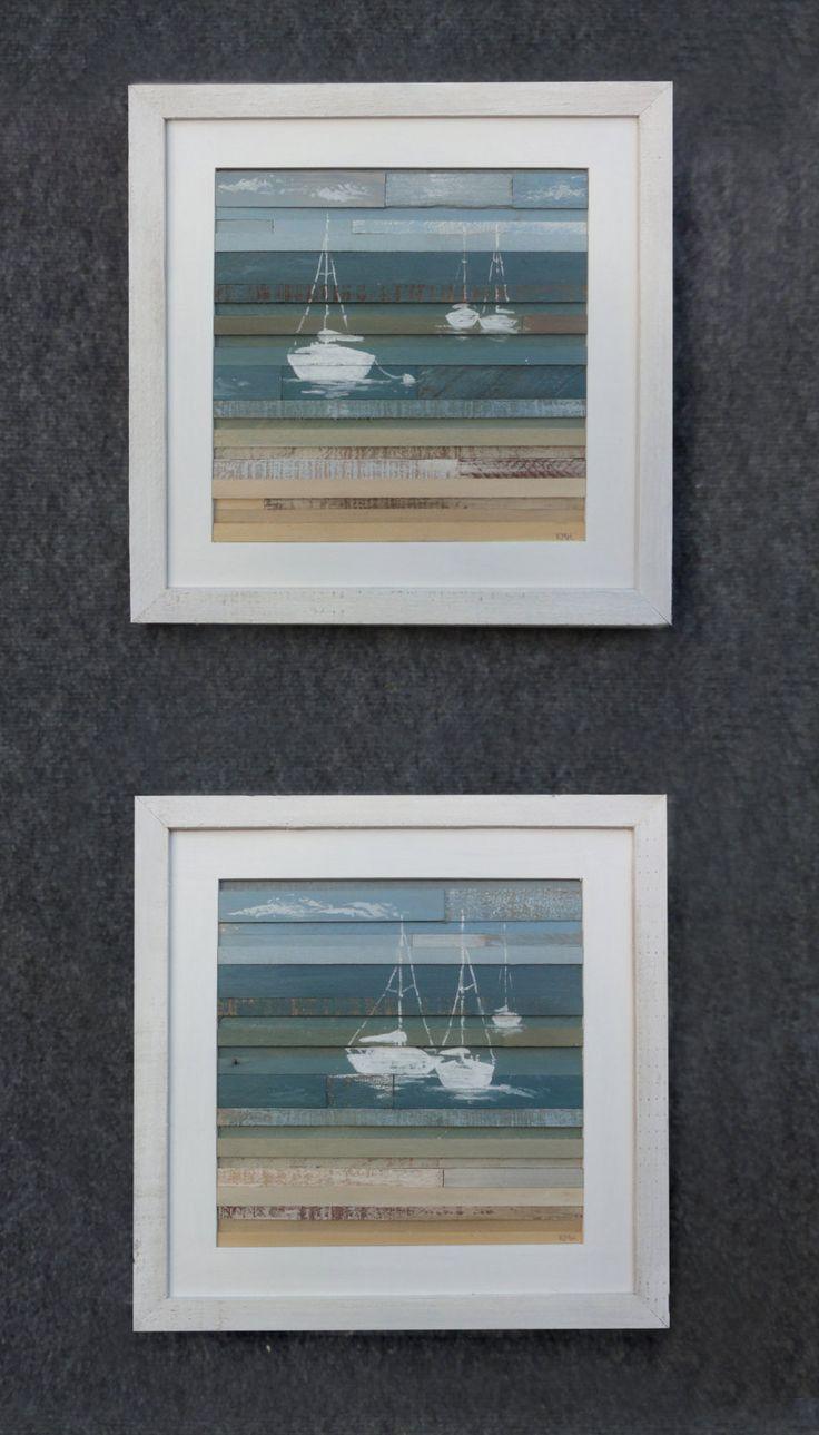 Listado es para una sola pieza, con veleros siluetas en blanco. Las dimensiones exteriores son de 16 x 16 con un 1 blanco marco lavado álamo dejó