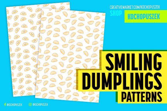 Funny Dumplings Patterns by Kochopuszek on @creativemarket