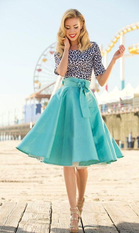 pretty aqua twirl skirt
