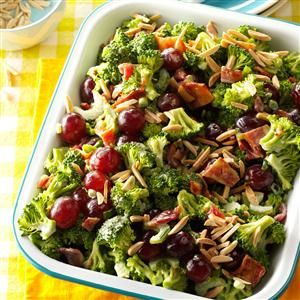 Broccoli Salad Supreme Recipe -People can't get enough of the sweet grapes and crunchy broccoli in this colorful salad. I appreciate its make-ahead convenience.                                             —Terri Twyman, Bonanza, Oregon