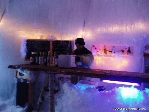 The Ice Bar at Niseko, where the stools, tables and even the bar are carved in ice!