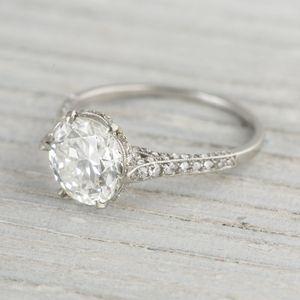 image of 204 carat je caldwell co vintage diamond engagement ring - Vintage Diamond Wedding Rings