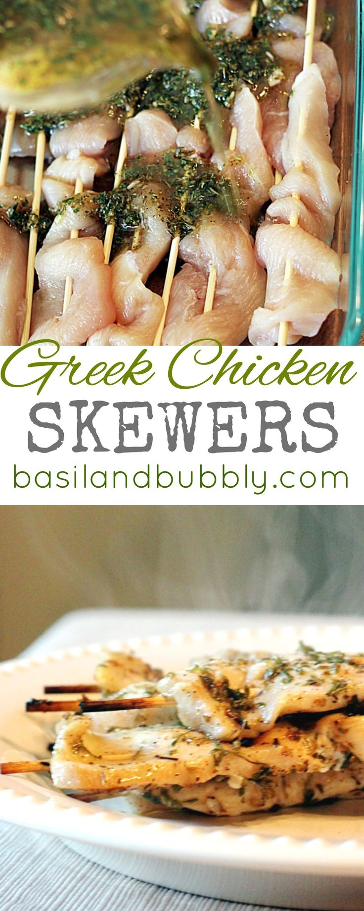 Another great healthy boneless, skinless chicken recipe that's clean from Basil and Bubbly: Greek Chicken Skewers