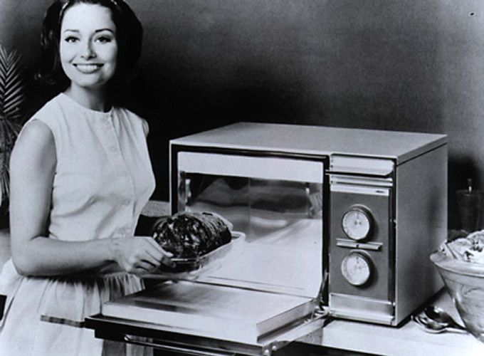 1955: The first domestic microwave oven is introduced. Tappan sold the first home microwave for one thousand two hundred and ninty five dollars in 1955 which is equal to ten thousand five hundred dollars today. Sales were VERY slow and it was pretty much an unknown.