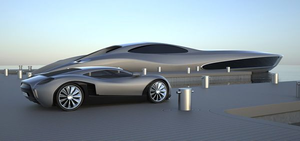 38-meter concept yacht with matching supercar by Eduard Gray on Yanko Design.  Gorgeous design.