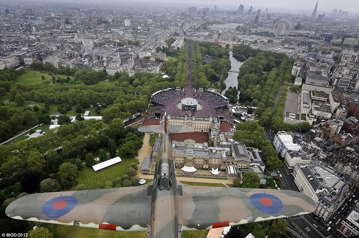 Incredible footage has been released showing the bird's eye view enjoyed by crew aboard a Lancaster bomber flying over London for the Queen's Diamond Jubilee celebrations.
