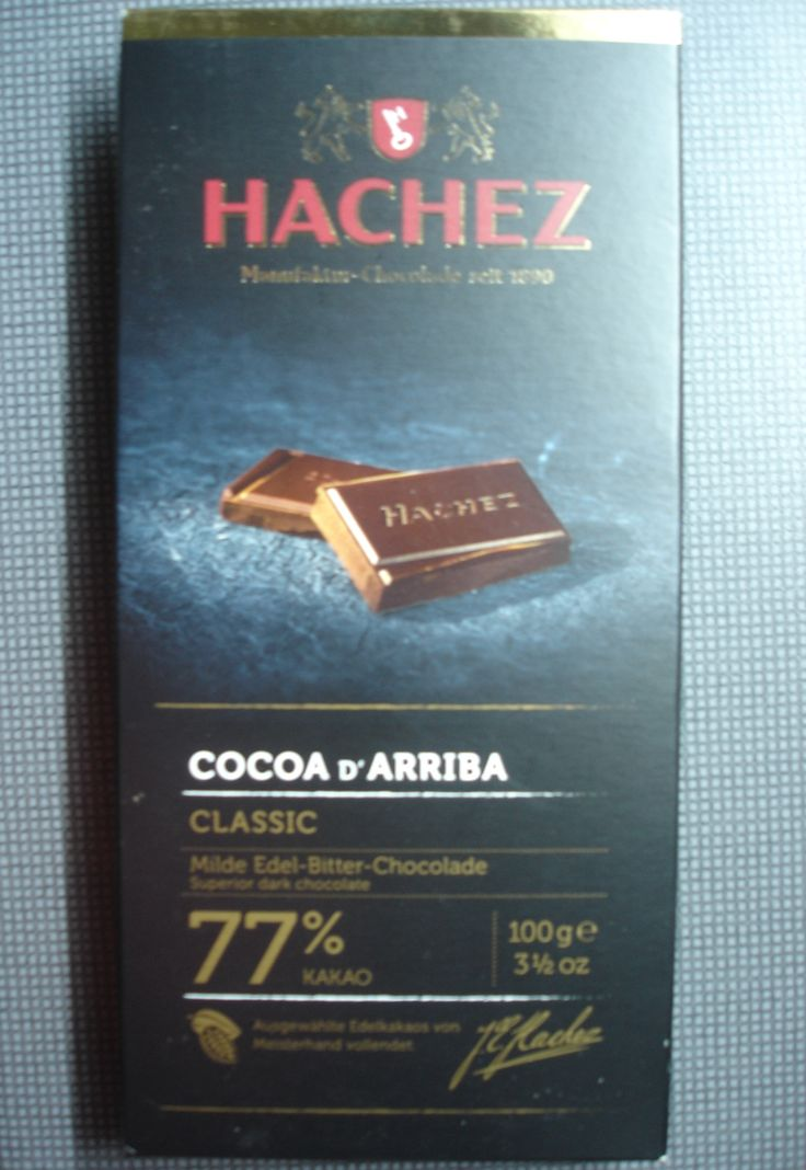 Hachez 77%. Ingredients: Cocoa beans, sugar, cocoa butter, bourbon vanilla extract, bourbon vanilla pods.
